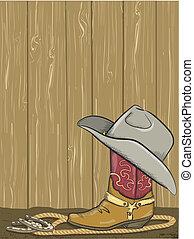 cowboy, muur, laars, hout, westelijk, achtergrond, hoedje