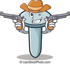 Cowboy nail character cartoon style