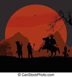 cowboy, nyugat indians, amerikai, vad, bennszülött