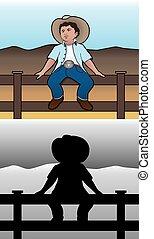 Cowboy on Fence