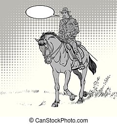 Cowboy on horse. Horsemanship. Cowboy on horse ride vintage vector poster. The world of the wild West.