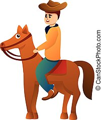 Cowboy on horse icon, cartoon style