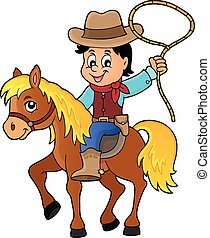 Cowboy on horse theme image 1