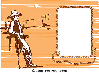 Cowboy on rancho with lasso. Vector graphic image. Background