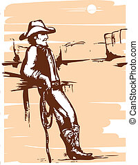 Cowboy on rancho with lasso. Vector graphic image