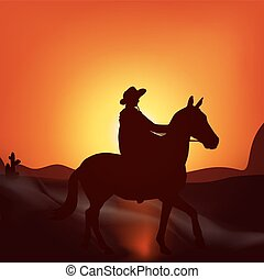 Cowboy on sunset background
