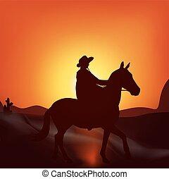 Cowboy on sunset background
