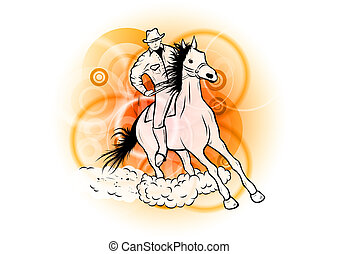 cowboy on the orange background