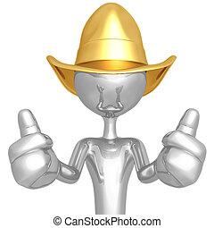 cowboy, op, twee, duimen