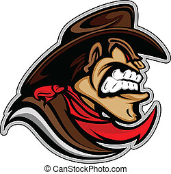 Graphic Mascot Vector Image of a Cowboy Bandit with Hat and Snarling Expression