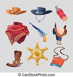 Stylish cowboy or western sheriff clothers and accessorises isolated on transparent background. Vector illustration