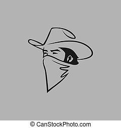 Cowboy outlaw head symbol on gray backdrop - Cowboy outlaw ...