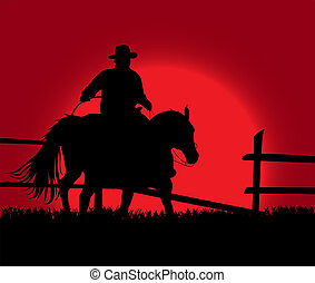 Cowboy over sunset - An illustration of cowboy on the...