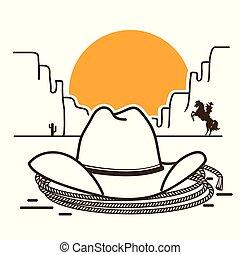 cowboy, ovest, illustrazione, americano, occidentale, selvatico, cappello, deserto