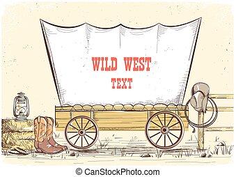cowboy, ovest, illustrazione, wagon.vector, fondo, testo,...