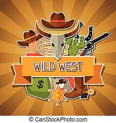cowboy, ovest, oggetti, fondo, selvatico, adesivi