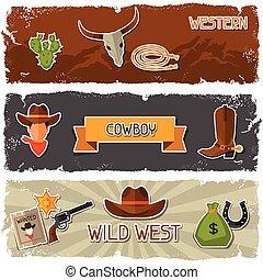 cowboy, ovest, oggetti, selvatico, bandiere, adesivi