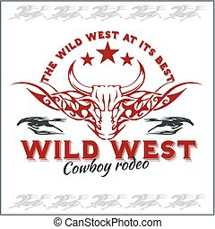 cowboy, ovest, -, rodeo., emblem., vettore, selvatico