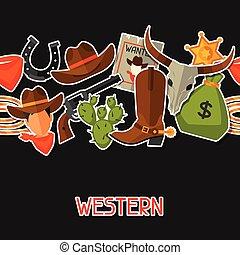 cowboy, ovest, seamless, oggetti, modello, selvatico, adesivi