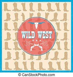 cowboy, ovest, stivali, decorazione, scheda selvatica