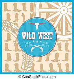 cowboy, ovest, stivali, decorazione, testo, scheda selvatica