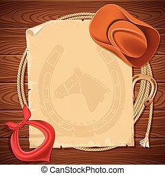 cowboy, ovest, struttura, americano, legno, fondo,...