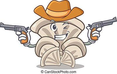 Cowboy oyster mushroom character cartoon