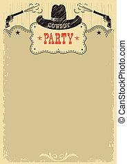 Cowboy party background with western decoration. Cowboy poster