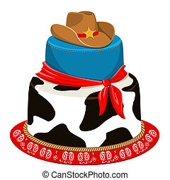 Cowboy cake for child birthday party with traditional decoration. Vector isolated on white for design