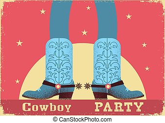 Cowboy party card background with cowboy legs in western boots