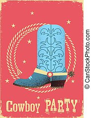 Cowboy party card background with western boot and lasso.