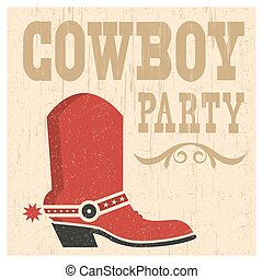 Cowboy party card illustration with cowboy boot and text