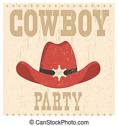 Cowboy party card illustration with western hat