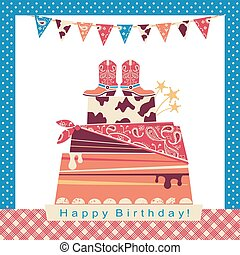 Cowboy party illustration with big cake and cowboy shoes on sweet cake.