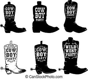 Cowboy party. Set of illustration of cowboy boots with lettering. Design elements for logo, label, sign, poster, t shirt. Vector illustration