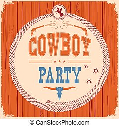 Cowboy party western card background with guns