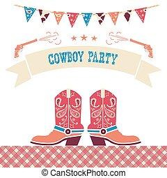 Cowboy party western card.Vector symbols with cowboy shoes...