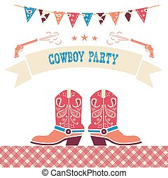 Cowboy party western card.Vector symbols with cowboy shoes