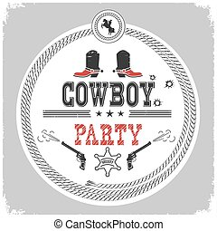 Cowboy party western label isolated on white.