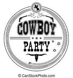 Cowboy party western label isolated on white.Vector vintage card background with guns