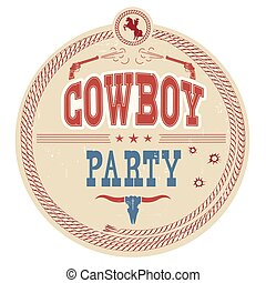 Cowboy party western label.Vector vintage card background with guns