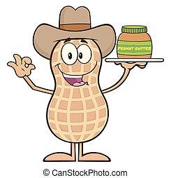 Cowboy Peanut Cartoon Character