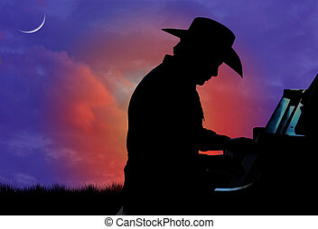 Cowboy Pianist Silhouette - Silhouette of a cowboy playing...