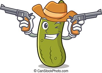 Cowboy pickle character cartoon style