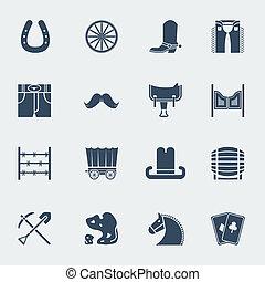 Cowboy pictograms. Vector wild west icons isolatedon white...