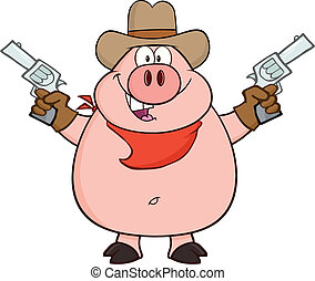 Cowboy Pig Cartoon Character Holding Up Two Revolvers...