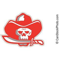 Cowboy Pirate Skull Biting Knife Retro