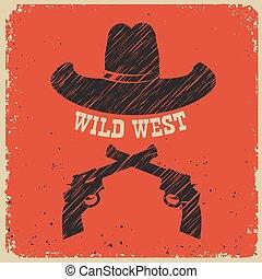 cowboy, plakat, papier, westlich, hintergrund, hut, rotes