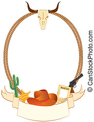 Cowboy poster background for design with cowboy elements. Vector