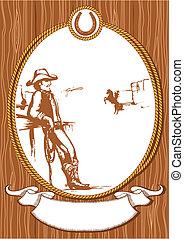 cowboy, poszter, keret, odaköt, vektor, tervezés, háttér